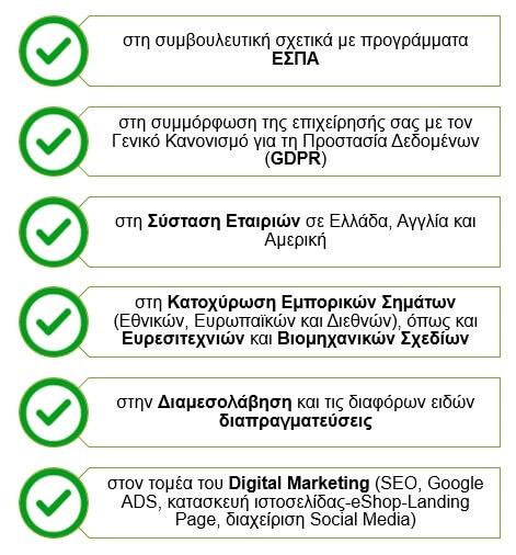 Λίστα υπηρεσιών για συμβουλευτική επιχειρήσεων